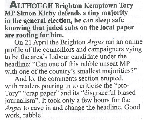 Election round-up: Brighton    Private Eye | May 2017