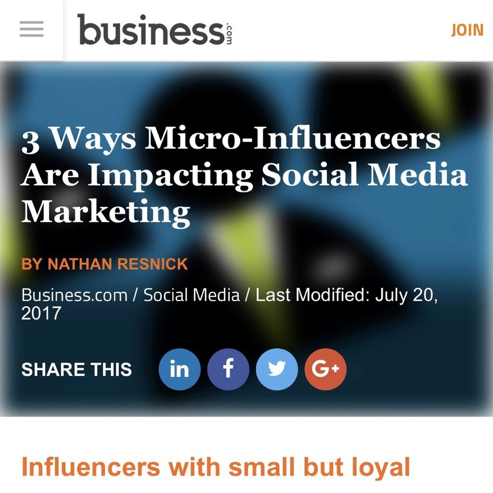 Another feature on   Business.com  ! Check out what we think about using Micro-influencers and how they are going to play a huge aspect in the coming of social media advertisements.