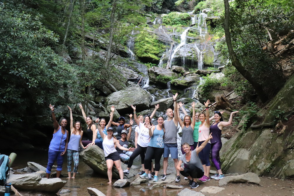 A record-breaking waterfall yoga hike during the Asheville Yoga Festival.