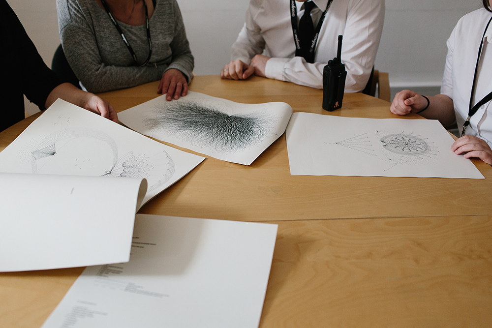 Systems Breakdown is a limited edition of 50 artist books comprising all ten drawings and indexes, printed on the GoMA office printer using standard A3 recycled office paper. The whole edition was distributed to the staff directly involved and others who had been mentioned within the drawings.  Each of the ten staff members received an archival digital print of their drawing.