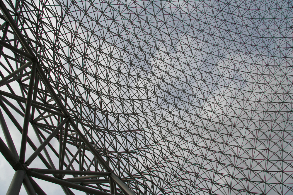 Final stop; Montreal Biosphere. Buckminster Fuller's geodesic dome for Expo '67. Inside the dome.