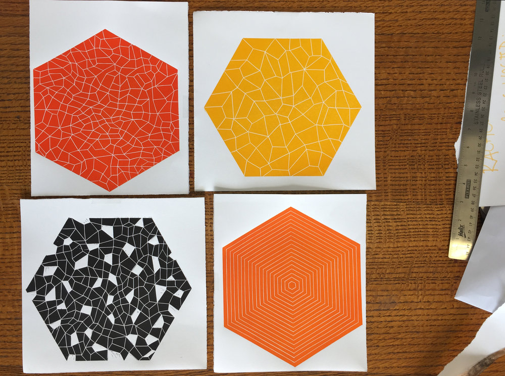 The painted hexagons were based on these lino cuts I printed for the RHSC wall art commission