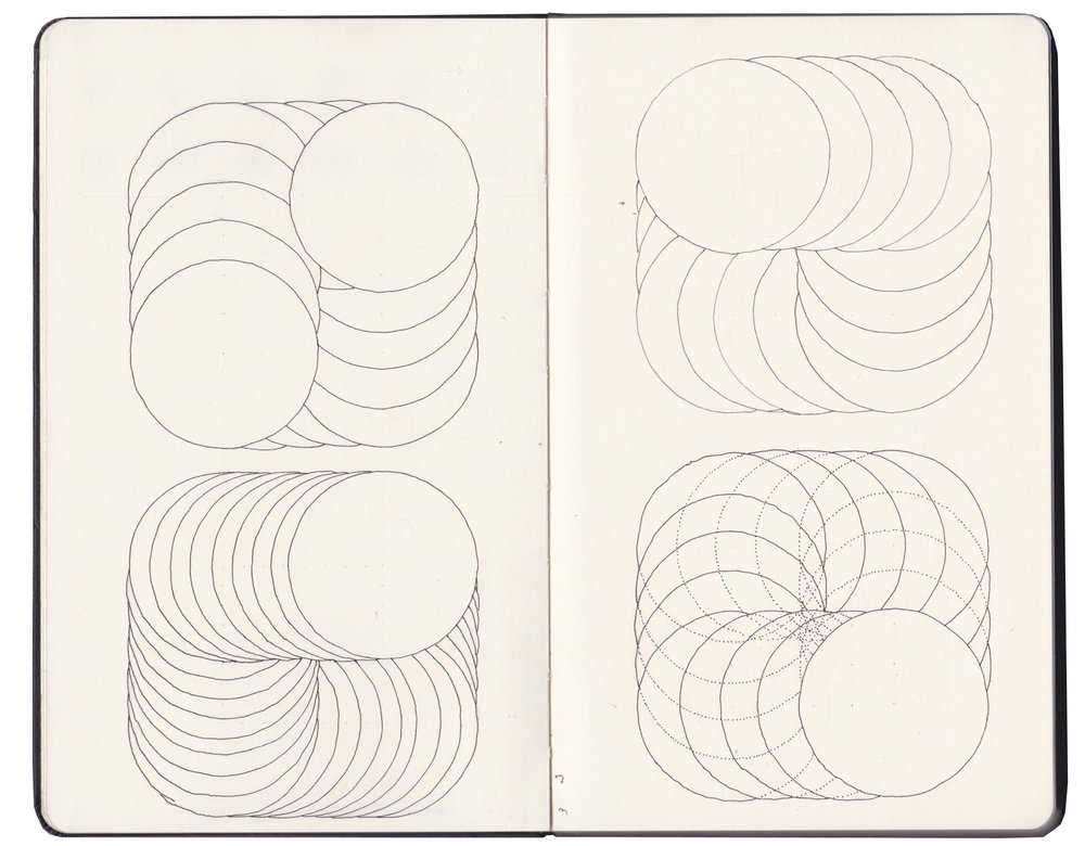 Sketchbook drawings - ways of placing randomised dots within a grid