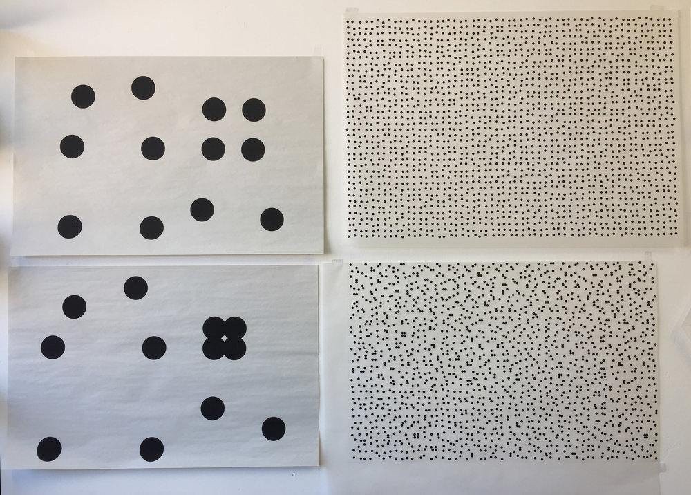 Studio wall. Standing back to look. Two patterns, two scales.