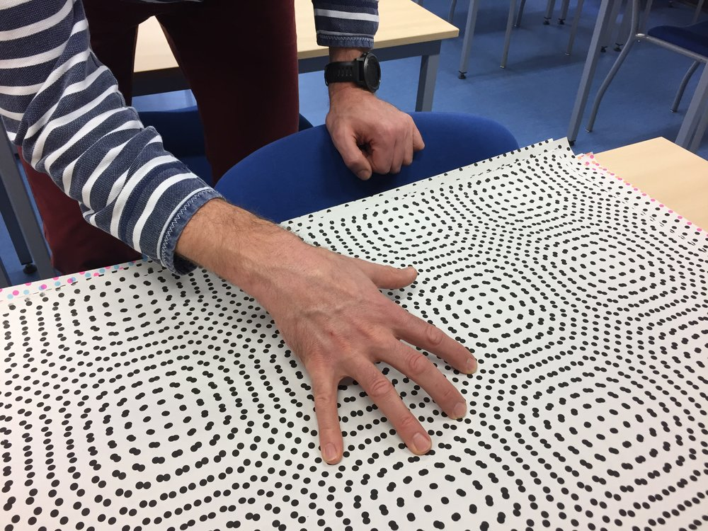 The project was triggered by a conversation I had with Prof Gadegaard about moiré patterns, which gave him an idea about biological matrices within the body. This led to some screenprinting experiments which helped us discuss it in visual terms and raised more questions