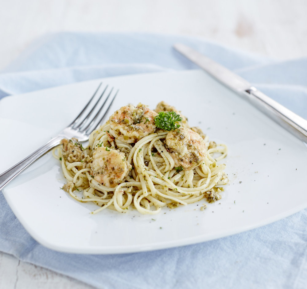 Shrimp with Garlic Sauce on Linguine