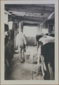 My Dad getting ready for milking time.