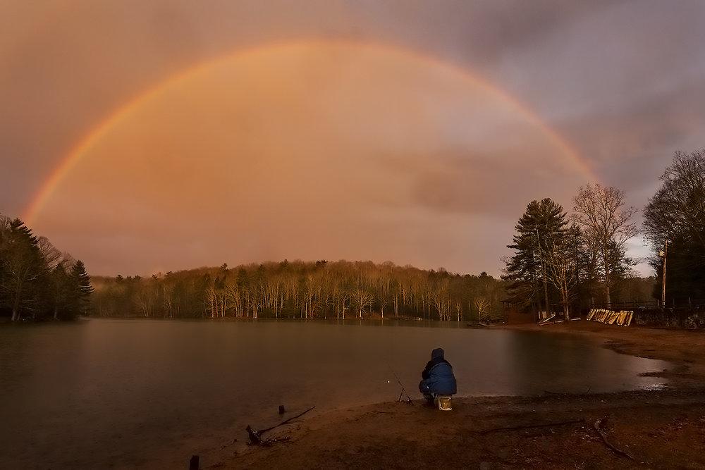 Sunset rainbow. Little Beaver State Park, West Virginia