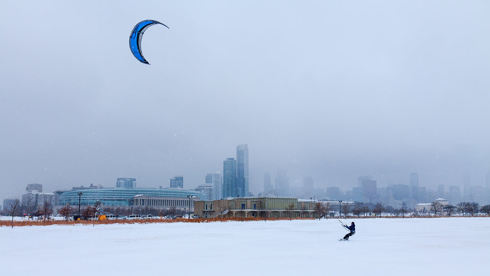 Ice sailing, Northerly Island, Chicago