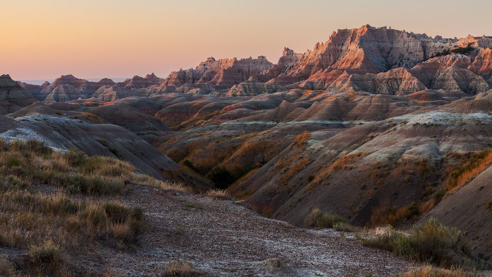 Badlands peaks at dusk
