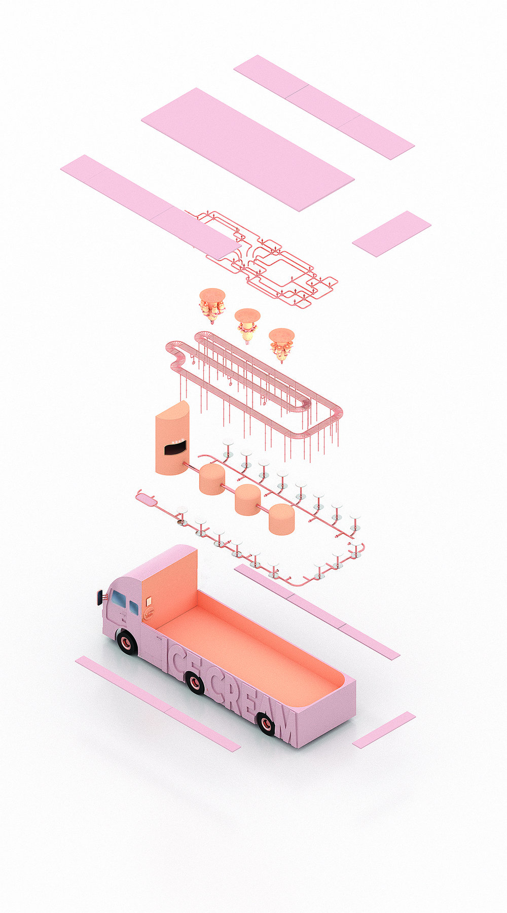 - My design proposal is an ice cream truck converted into a portable liquid nitrogen ice cream factory that would allow people to experience getting their favorite dessert in a new unique way. One of the most important aspects of -320ºF is the fact that ice cream making becomes some sort of a performance for the customers, where they get to see the whole process from the beginning to the end. As a huge ice cream fan, I could not ignore the new liquid nitrogen trend, which influenced my design approach for -320ºF (nitrogen's boiling temperature) and has already become a craze that is now used in all kinds of places from fancy restaurants to small cafes. Even though molecular gastronomy movement has been on the scene for quite a while, people of all ages never stop getting excited about clouds of smoke coming out of their food and I wanted to make this excitement part of their experience in my space.Inspired by the conveyor belts you can see in many sushi restaurants, I decided to incorporate it in my design and take it to the next level. For each part of the ice-cream making process (mixing, freezing, topping) -320ºF would have a station, through which the conveyor would take the empty plates in order for the ice cream to be made and delivered to customers. Orders would be placed on one side of the truck, where the worker would have to simply choose the right flavor and toppings on a screen attached to the nearest wall. The command goes to conveyor belt system and a new empty plate starts its journey to the first station, where liquid cream with the chosen flavor gets poured into it. At the next station this cream instantly gets frozen with liquid nitrogen and the ready-to-eat ice cream scoop moves to the last station for toppings. Meanwhile the customer would take one of the seats connected to three external sides of the truck and pick up their ice cream from the conveyor when it arrives.Even though the space would get enough natural light during the day, I decided 