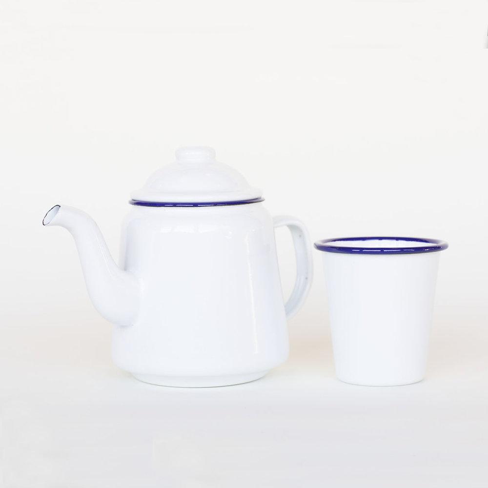 Enamel Teapot and Tumblers