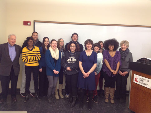 Professor Marjorie Howes with students from Irish Women Writers, March 3, 2015
