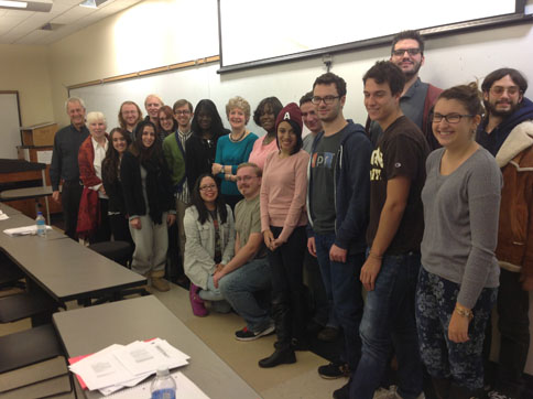 Professor Heather O'Donoghue with students from Modern Poetry to T. S. Eliot, November 14, 2013