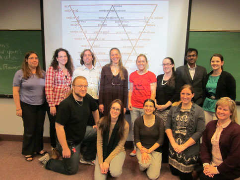 Professor Meg Mills Harper and students from the graduate seminar in Modern British and Irish Poetry (with Yeats's diagram for  A Vision ), November 20,2012