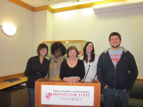 Poet Vona Groarke with students after her reading, November 8, 2012