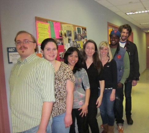 Poet Saskia Hamilton with students before her reading, February 23, 2012