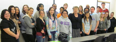 Professor Angela Bourke with students from the Irish Revival class, April 5, 2011