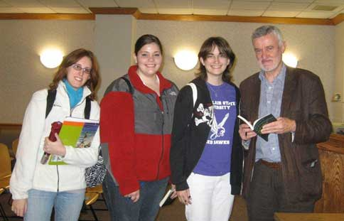 Poet Bernard O'Donoghue with students at Montclair State University, November 19, 2009