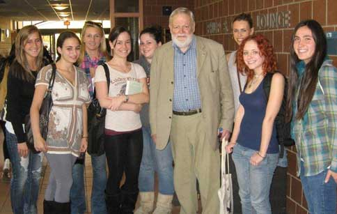 Poet Michael Longley with students at Montclair State University, October 28, 2010