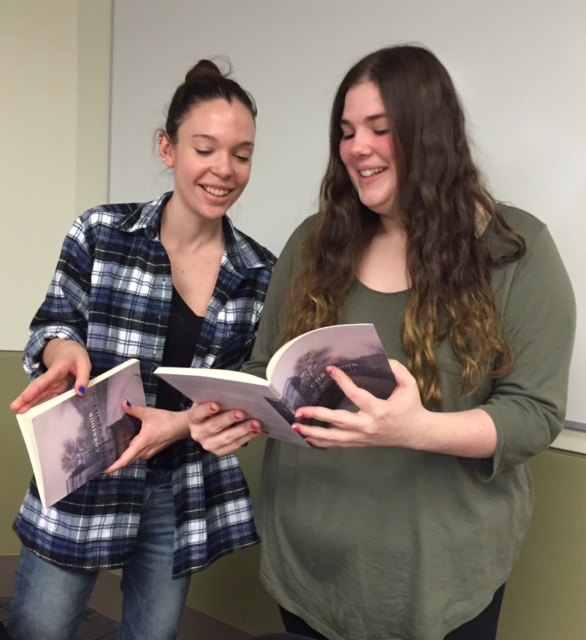 Students from the Women Poets class with books signed by Saskia Hamilton, February 2017