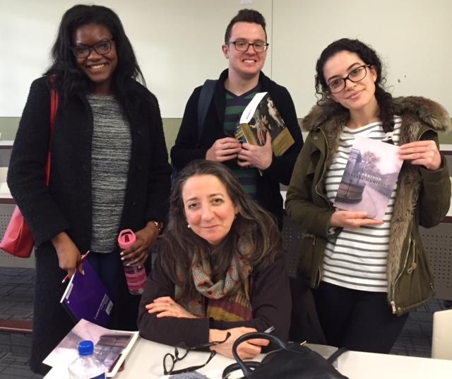 Poet Saskia Hamilton with students from the Women Poets class, February 2017