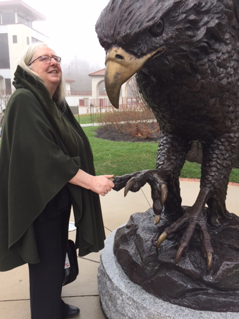 Eiléan Ní Chuilleanáin, Ireland Professor of Poetry, meets the Montclair Red Hawk, April 2017