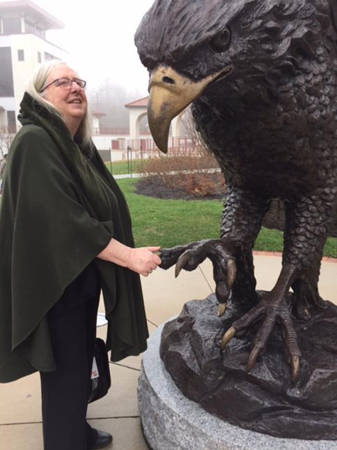 Eiléan Ní Chuilleanáin, Ireland Professor of Poetry, meets the Montclair Red Hawk, April 2017