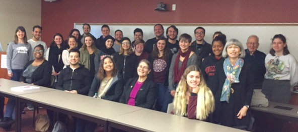 Dr. Micheline Sheehy Skeffington, National University of Ireland Galway, with students from The Irish Revival, November 2017