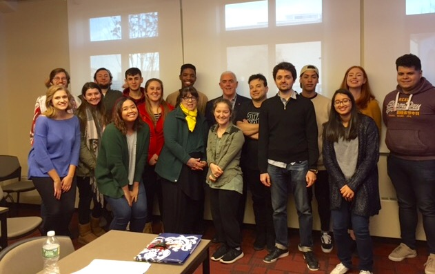 Writer and essayist Theo Dorgan, Dublin, with students from Modern Poetry to T. S. Eliot, November 2017