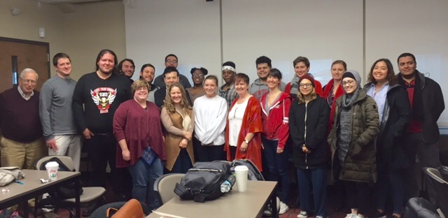 Dr. Tina O'Toole, University of Limerick, with students from The Irish Revival, December 2017