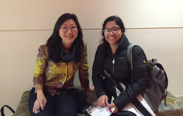 Poet Monica Youn with a student from The Art of Poetry, November 2018