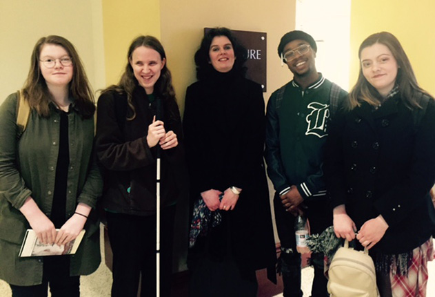 Poet Tara Bergin with students from the Women Poets class, March 2018