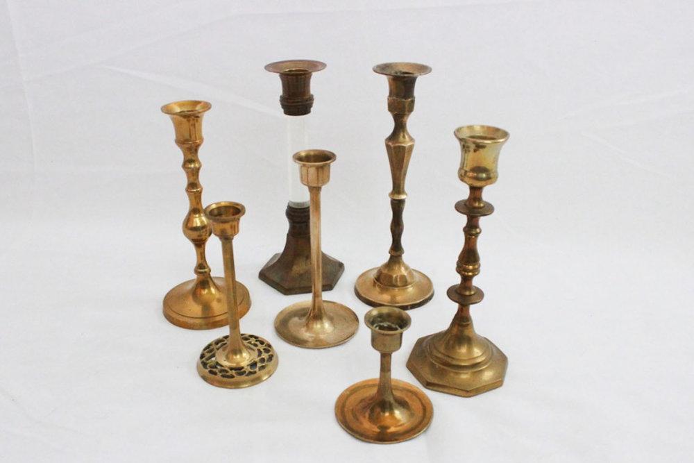 Brass Candlesticks - Scavenged Vintage