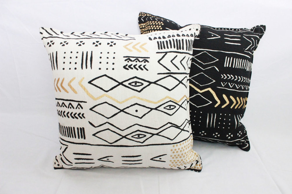 Metallic Mudcloth Pillows - Scavenged Vintage