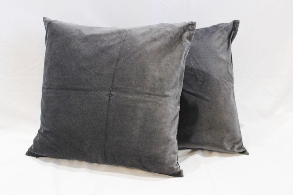 Gray Velvet Pillows - Scavenged Vintage