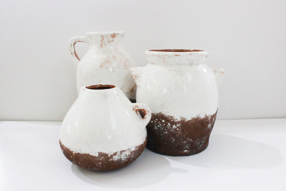 White Ceramic Pottery - Scavenged Vintage