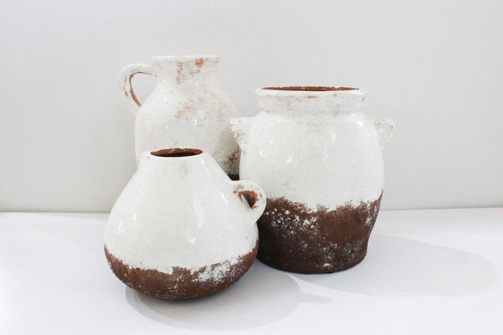 White Ceramic Pottery - Scavenged Vintage