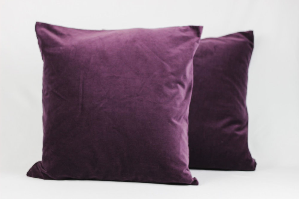 Purple Velvet Pillows - Scavenged Vintage Rentals