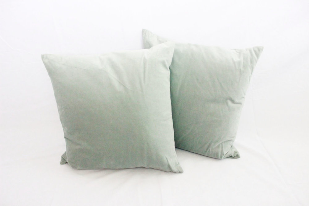Pale Blue Velvet Pillows - Scavenged Vintage Rentals
