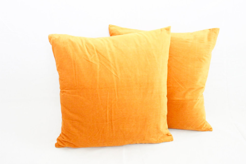 Mustard Yellow Velvet Pillows - Scavenged Vintage Rentals