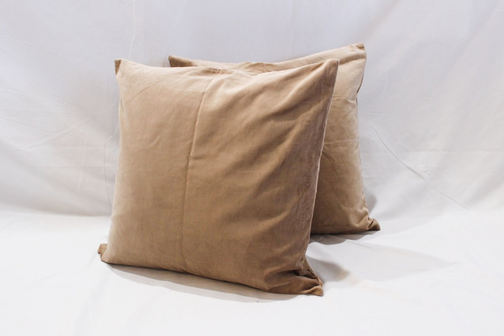 Camel Velvet Pillows - Scavenged Vintage Rentals