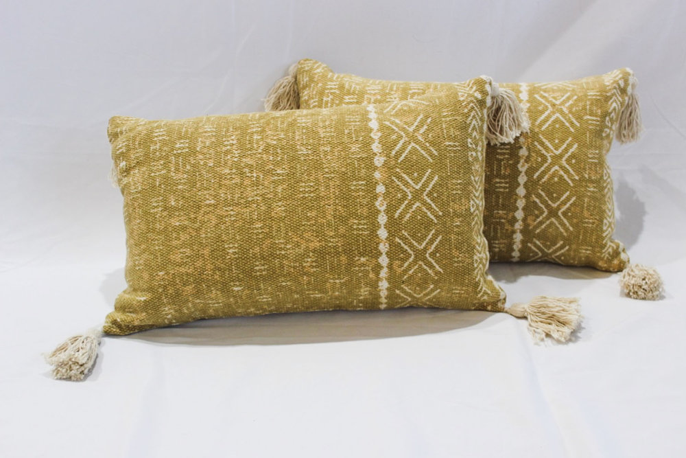 Yellow Mudcloth Pillows - Scavenged Vintage Rentals
