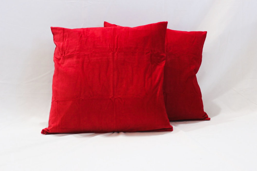 Red Velvet Pillows - Scavenged Vintage Rentals