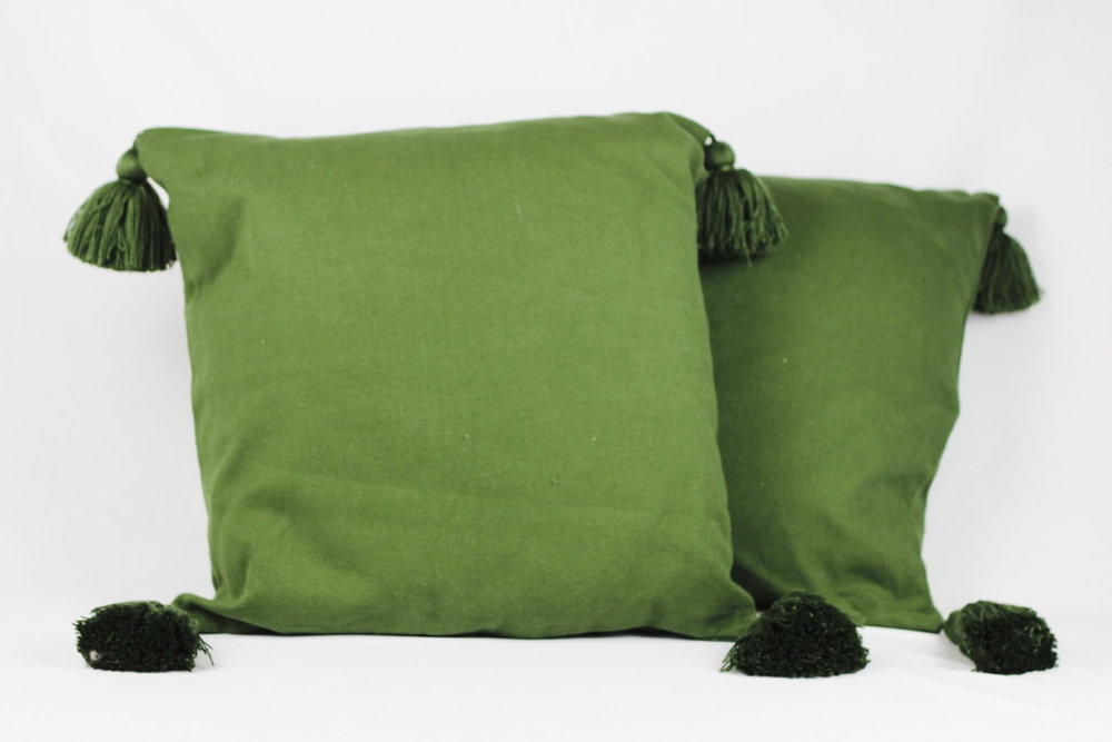 Olive tassel pillows - Scavenged Vintage Rentals
