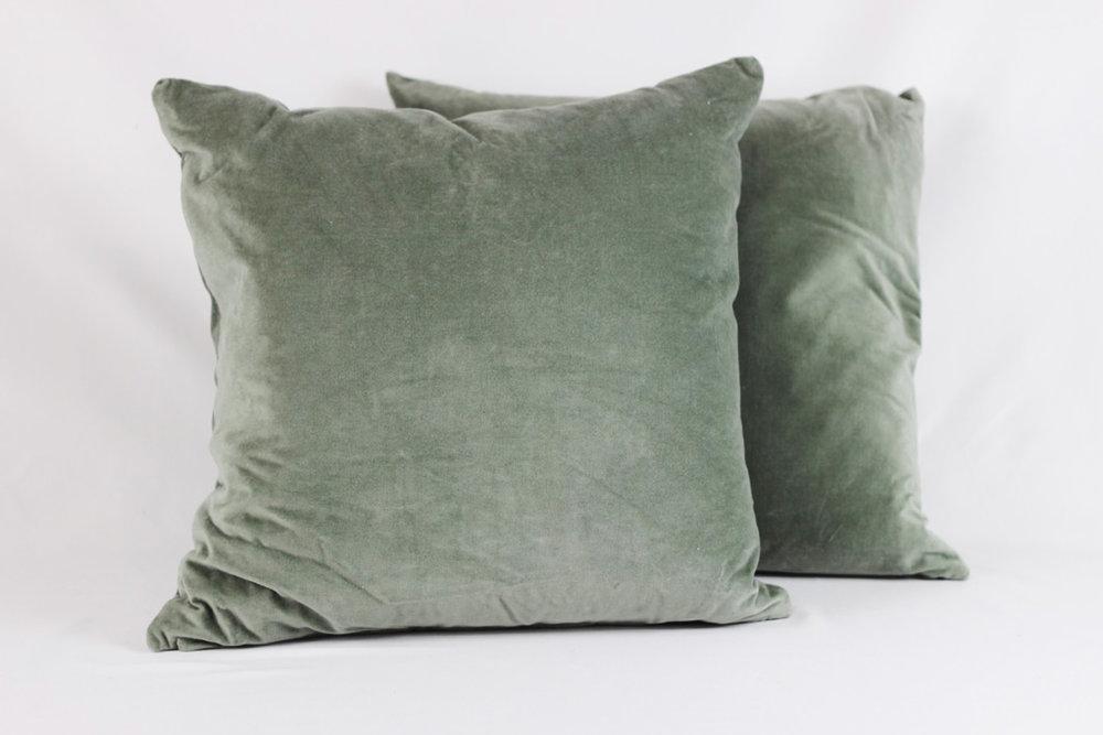 Sage Green Velvet Pillows - Scavenged Vintage Rentals.jpg