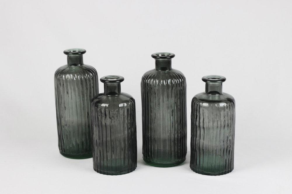 Blue Glass Bottles - Scavenged Vintage Rentals