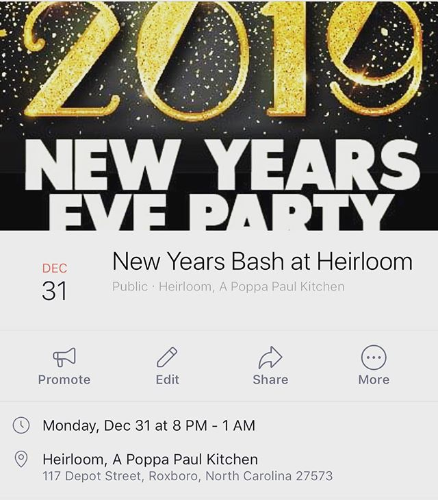 New Years at Heirloom!  Join us New Year's Eve for a mix & mingle bash!  Pre order tickets at Heirloom, or call for your reservation 336-322-3300 ! #heirloomroxnc #newyearseve #mixandmingle
