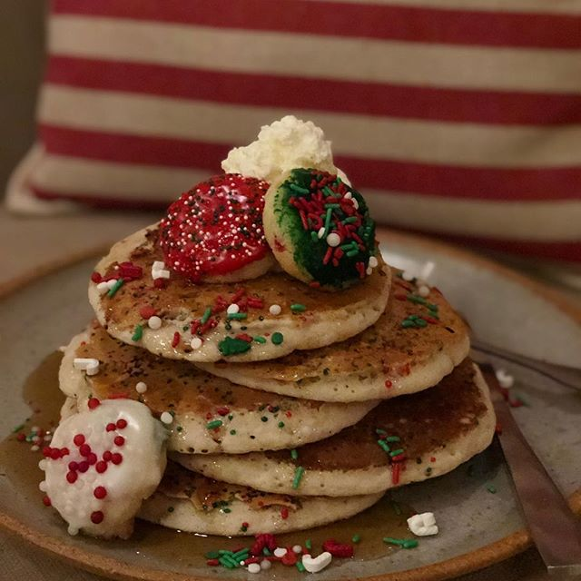 Are you coming to brunch this Sunday to paint with Santa?!? We will have these festive Sugar Cookie Pancakes!! Make your reservations now because we are filling up fast!! #heirloomroxnc #itsbetterinperson #uptownroxboro #santafood #sugarcookies #christmasbrunch