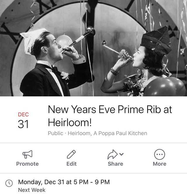 Slight change up, we have had many requests so... New Years Eve Prim Rib Night!!! Sounds good to us, we will have our famous Prim Rib for a special New Year's Eve service!  Make your Reservation soon!  336-322-3300 #heirloomroxnc #explorenc #visitnc #newyears #uptownroxboro